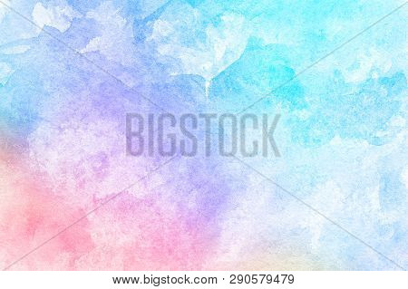 Abstract Pink Blue Red Yellow Green Violet Orange Purple Watercolor On White Background.the Color Sp