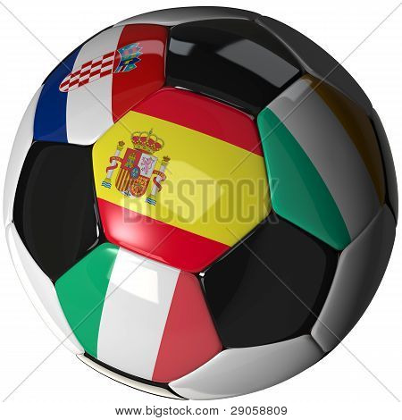 Isolated Soccer Ball With Flags Of Group C, 2012