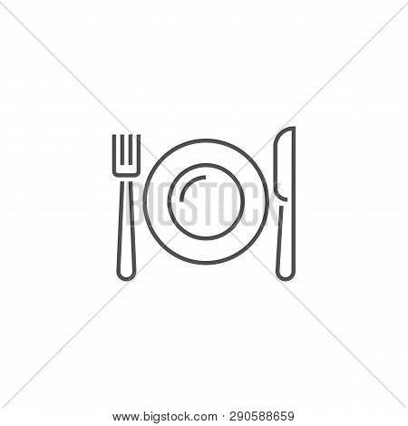 Plate, Fork And Knife Icon. Plate, Fork And Knife Related Vector Line Icon. Isolated On White Backgr