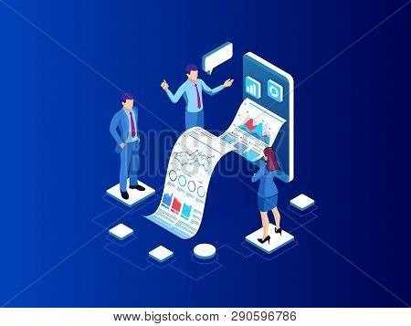 Isometric Expert Team For Data Analysis, Business Statistic, Management, Consulting, Marketing. Land