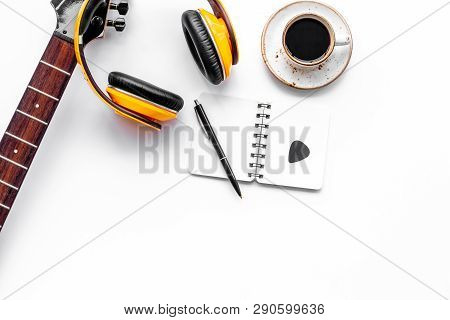 Music Record Studio With Musician And Dj Instruments White Background Top View Copyspace