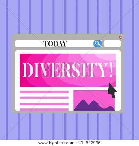 Word Writing Text Diversity. Business Concept For Being Composed Of Different Elements Diverse Varie