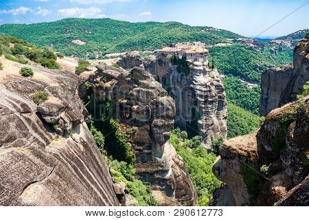Top View Of Monastery Of Varlaam (the Second Largest) In Meteora, Greece, And The Unique Rock Format