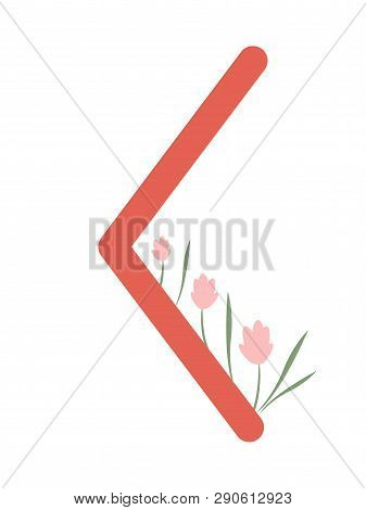 Fleece Scandinavia. Vector Illustration Of Keno Rune Kenaz . The Symbol Of The Letter Futhark. Spiri