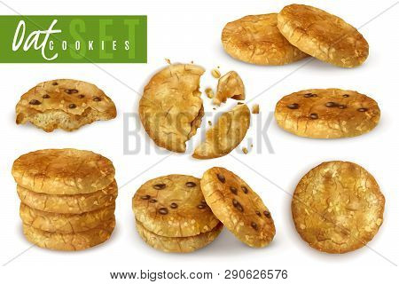 Oat Cookies With Chocolate Crumbs Realistic Set Of Whole And Crumble Cooked Pastry Isolated Vector I