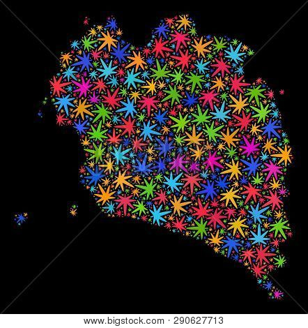 Bright Vector Cannabis Ko Pha Ngan Map Mosaic On A Black Background. Concept With Bright Weed Leaves