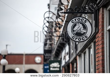 Ottawa, Canada - November 12, 2018: Crocs Logo In Front Of Their Local Shop In Ottawa, Ontario. Croc