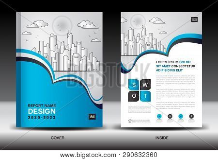 Blue Cover Template With City Landscape, Annual Report Cover Design, Business Brochure Flyer Templat