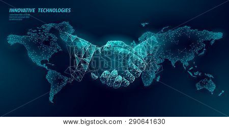 Global Handshake Business Agreement. Low Poly Polygonal Triangle Professional Work Planet Earth Part