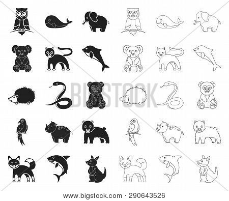 An Unrealistic Animal Black, Outline Icons In Set Collection For Design. Toy Animals Vector Symbol S