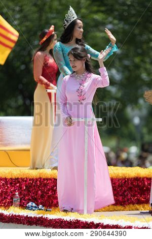 Washington, D.c., Usa - July 4, 2018, The National Independence Day Parade, Vietnamese American Wome