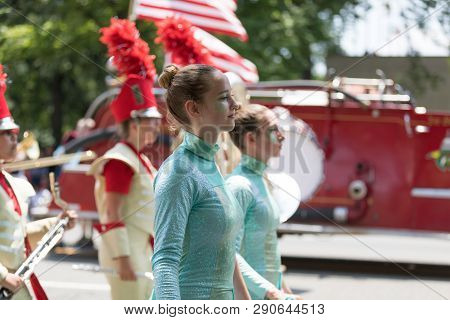 Washington, D.c., Usa - July 4, 2018, The National Independence Day Parade, The Henry Sibley High Sc