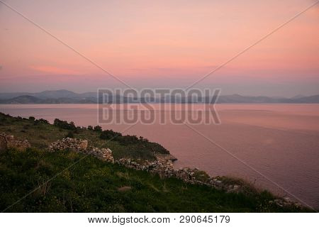 Scenic Sunset Over The Sea In Astros On Peloponnese In Greece