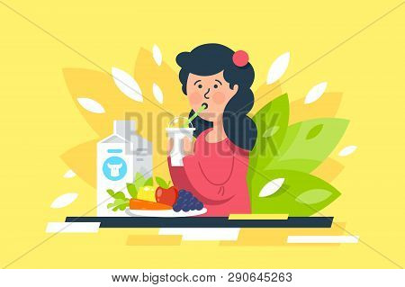 Flat Young Beauty Woman With Milk, Vegetables And Fruits On Healthy Diet. Concept Girl Character Wit