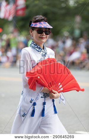 Washington, D.c., Usa - July 4, 2018, The National Independence Day Parade, Taiwanese Women Wearing