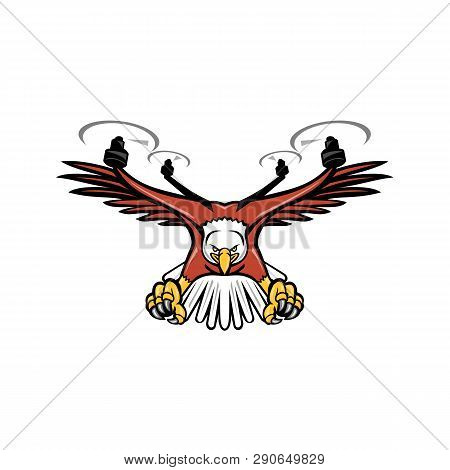 Mascot Icon Illustration Of A Half Eagle Half Drone Or Quadcopter With Four Rotor Propellers Swoopin