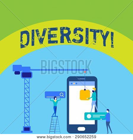 Writing Note Showing Diversity. Business Photo Showcasing Being Composed Of Different Elements Diver