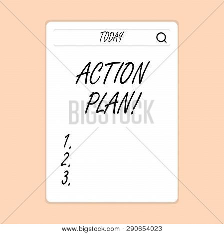 Handwriting Text Writing Action Plan. Concept Meaning Proposed Strategy Or Course Of Actions For Cer