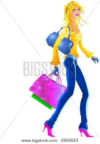 Nice Girl Going To Shopping