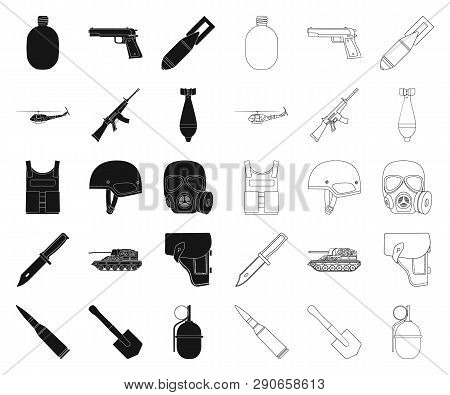 Army And Armament Black, Outline Icons In Set Collection For Design. Weapons And Equipment Vector Sy