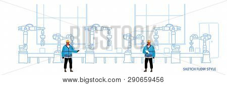 Engineers In Uniform Controlling Factory Production Conveyor Automatic Assembly Line Machinery Indus
