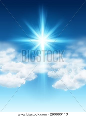 Easter Background With Light And Cross Of Rays And Light In Sky With Clouds. Eps 10 Contains Transpa