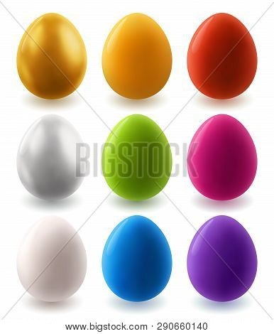 Set Of Clear Painted Colorful Easter Eggs, Eps 10 Contains Transparency