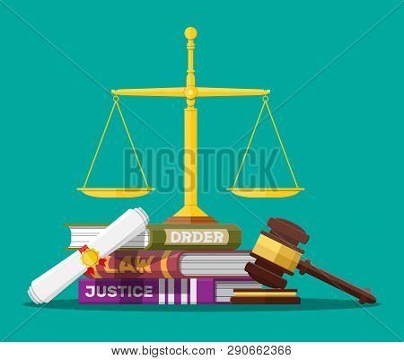 Law Code Books, Justice Scales And Judge Gavel. Law Judgment Punishment Order Justice. Wooden Hammer