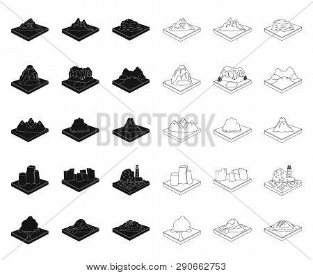 Mountains, Massive Black, Outline Icons In Set Collection For Design. The Surface Of The Earth Vecto