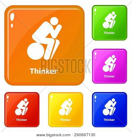Thinker Icons Set Collection Vector 6 Color Isolated On White Background