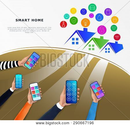 Smart Home Control Technology Concept. Iot Or Intrnet Of Things. Hands Holding Smartphone With Mobil