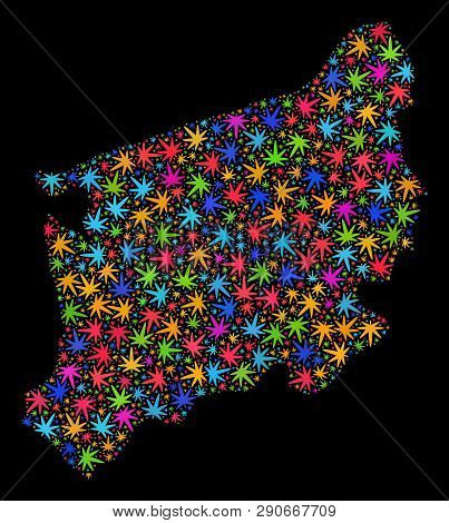 Bright Vector Marijuana West Pomeranian Voivodeship Map Collage On A Black Background. Concept With