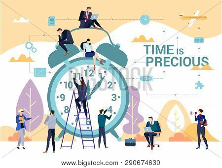 The Importance Of Time In Business Concept Flat Vector Illustration With People Gathered Around Clas