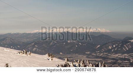 Part Of Velka Fatra Mountains, Velky Choc Hill And Whole Tatra Mountains From Martinske Hole In Mala