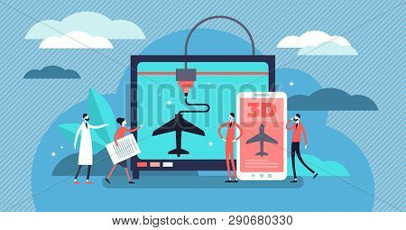 3d Printing Vector Illustration. Flat Tiny Plastic Technology Persons Concept. Prototype Creation Pr
