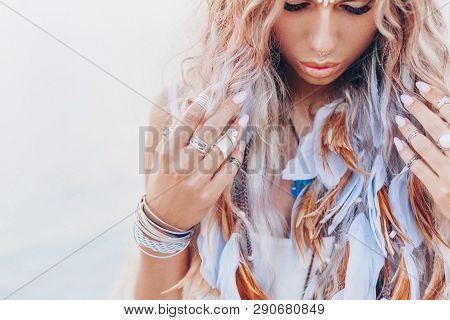 Beautiful Young Boho Woman Close Up Portrait With Pink Feathers And Accessories
