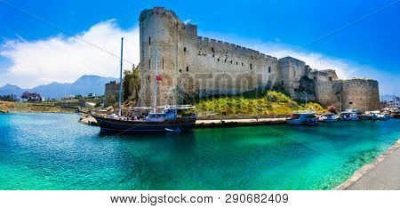 Landmarks of Cyprus -  Kyrenia old town , medieval fortress in northen turkish part of island
