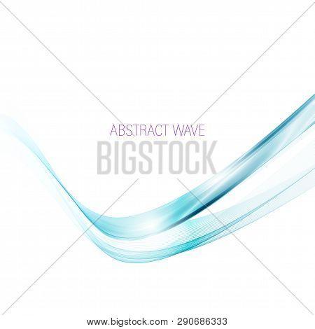 Abstract Vector Background, Transparent Waved Lines For Brochure, Website, Flyer Design. Blue Smoke