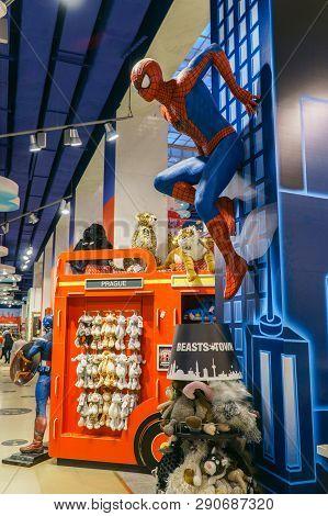 Prague, Czech Republic - May 9 2018: Spiderman Marvel Comics Climbing The Wall At Hamleys Toy Store.