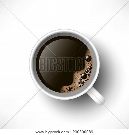 A Cup Of Black Coffee Top View. Realistic Vector. 3d Model Americano In White Cup Isolated On White