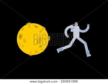 Astronaut Run Away From Moon. Spaceman Escapes From Selene. Cosmonaut Run Off Yellow Planet