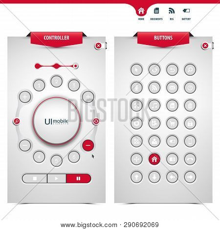 Set Of Ui Controllers And Buttons Containing A Touch Pad Controller Device, 3d Buttons, Joystick Kno