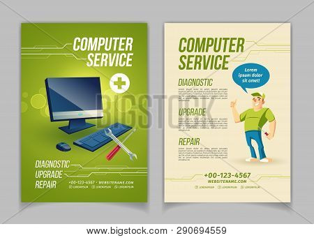 Computer maintain, upgrade and repair service cartoon vector ad brochure, flyer pages template. Work tools and personal computer, happy smiling repairman or technician showing thumbs up illustration poster
