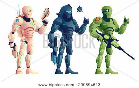 Future Robotic Soldiers, Cyborg Medic Armed Pistols, Saboteur With Shotgun And Explosive, Sniper Wit