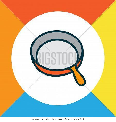 Skillet Icon Colored Line Symbol. Premium Quality Isolated Frying Pan Element In Trendy Style.