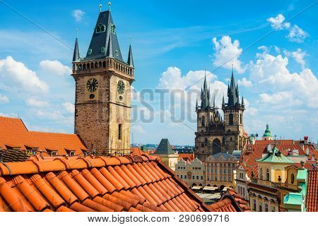 View Of Prague Astronomical Clock And Tyn Cathedral