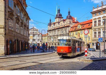 Prague, Czech Republic August 01, 2018  A Tram On A Historic Street.