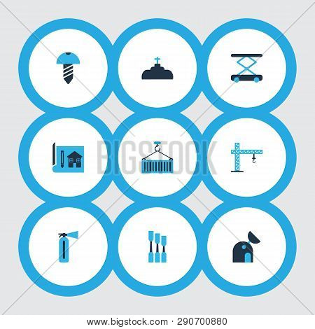 Industrial Icons Colored Set With Plumbing, Crane, Observatory And Other Valve Elements. Isolated Ve