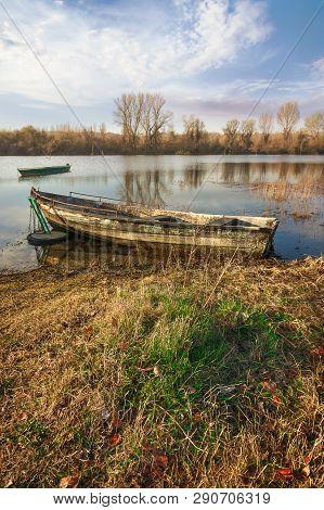 River Boat Nature Landscape.nature Landscape. Clouds And River Landscape. Outdoor Traveling Landscap