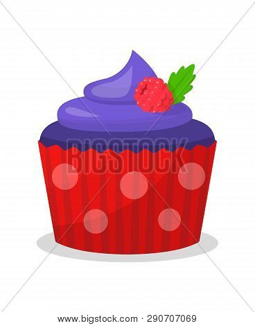 Blue Cupcake With Raspberry Vector Illustration. Sweet Dessert Cartoon Color Drawing. Sweet Muffin W